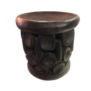 "Old African Bamileke Wood Stool 15.5"" H by 14.5 "" D Cameroon For Sale"