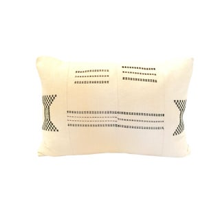 African Textile Black and White Pillow For Sale