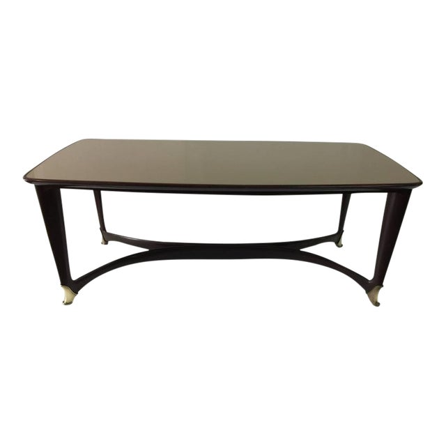 Paolo Buffa Reverse Painted Top and Walnut Italian Dining Table - Image 1 of 8