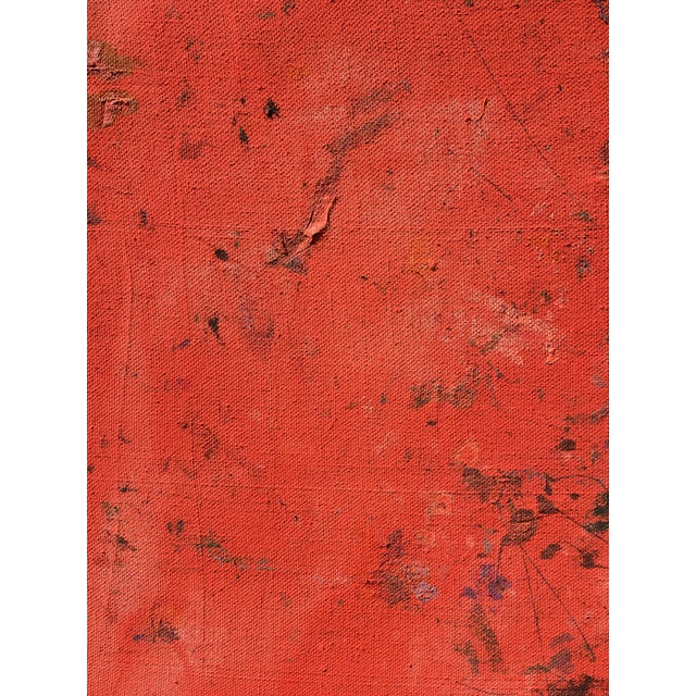 An interesting piece by emerging artist Sean Kratzert. A warm red contrasts a light white-pink. Marks show from below the...