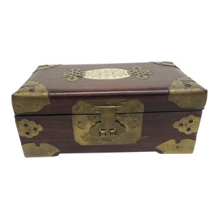 Vintage Hand Carved Wood and Bone Asian Jewelry Box For Sale
