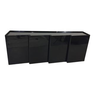 1980s Black Lacquer Wave Front Credenza For Sale