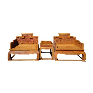 Chinese Yellow Rosewood Dragon Armchair Set