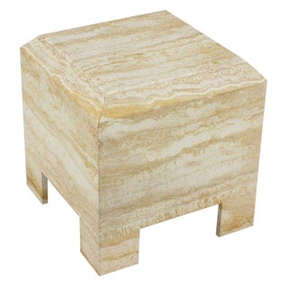 Custom Travertine End Table For Sale