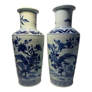 Chinese Blue & White Vases With Bird - A Pair For Sale