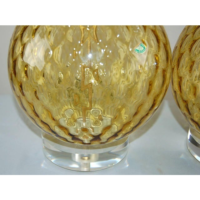 Vintage Murano Stacked Ball Glass Table Lamps Gold For Sale - Image 9 of 10