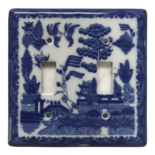 "Asian Porcelain ""Blue Willow"" Light Switch Plate Cover Double Fixture For Sale"