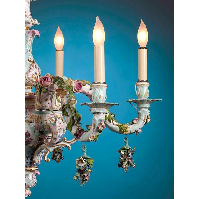 This magnificent porcelain chandelier, crafted by the renowned Meissen manufactory, is a marvelous example of that...