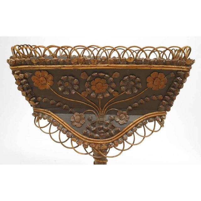 Rustic Continental (19th century) twig and root rectangular top fernery with filigree gallery on pedestal base with...