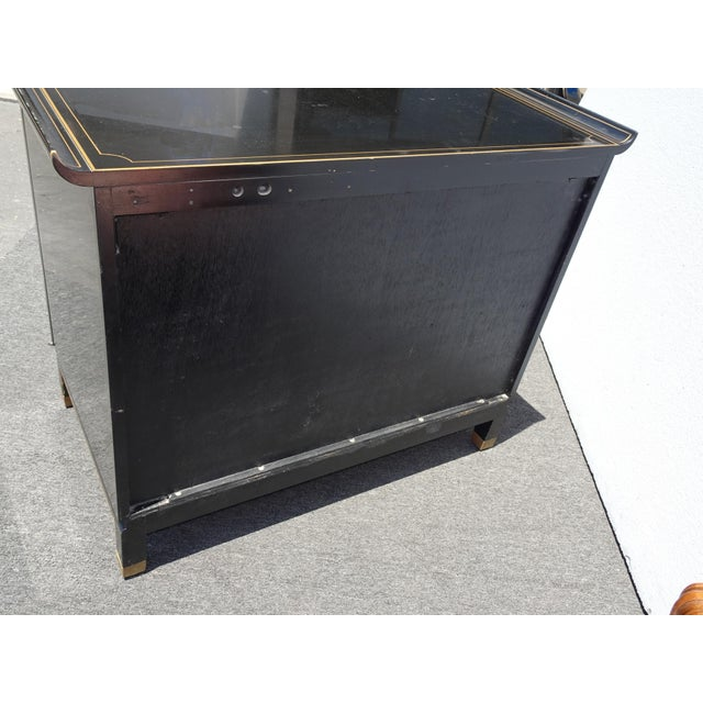 Vintage Mid Century Chinoiserie Oriental Asian Black Entry Table Cabinet For Sale - Image 12 of 13