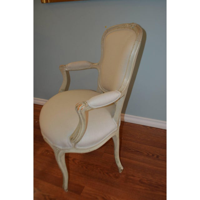 Louis XV Style Painted Armchairs - A Pair For Sale In Buffalo - Image 6 of 8