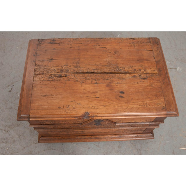 18th Century French Louis XIII Walnut Trunk For Sale - Image 4 of 12