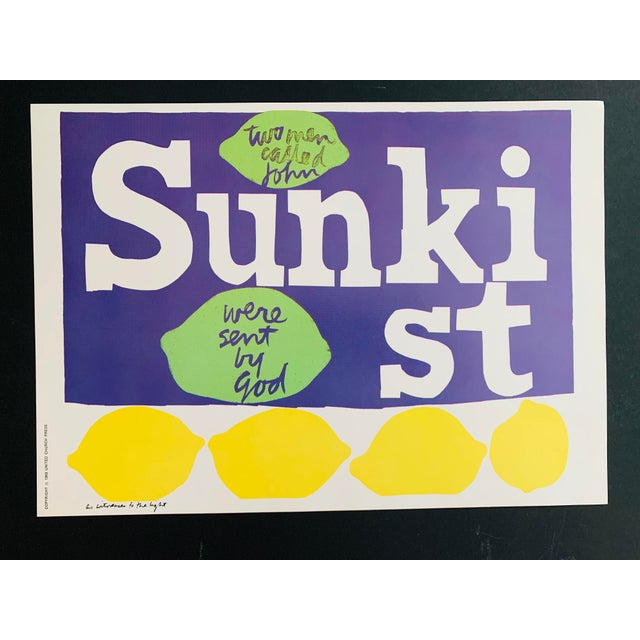 1960s Vintage Sister Mary Corita Kent As Witnesses To The Light Sunkist Lemon Print This is an original 1968 print from...