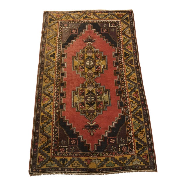 Vintage Oushak Handmade Rug-3′8″ × 6′3″ For Sale