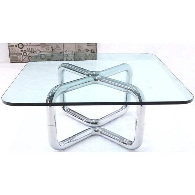 Transparent Rounded Corners Square Coffee Table on Thick Bent Tube Chrome Base For Sale - Image 8 of 13