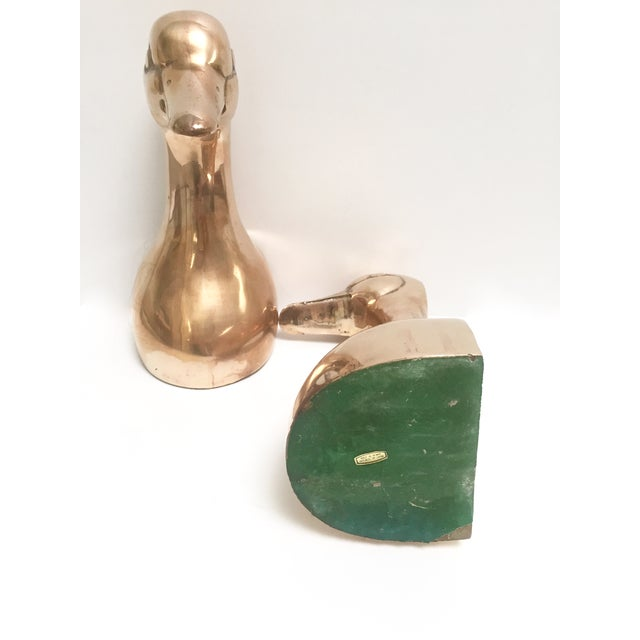 Large Vintage Brass Duck Head Bookends- A Pair - Image 5 of 8