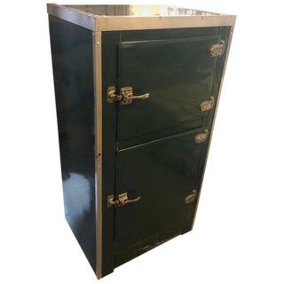 Storage Cabinet, Home Bar of Green Porcelain With Steel Accents, Circa 1930s For Sale