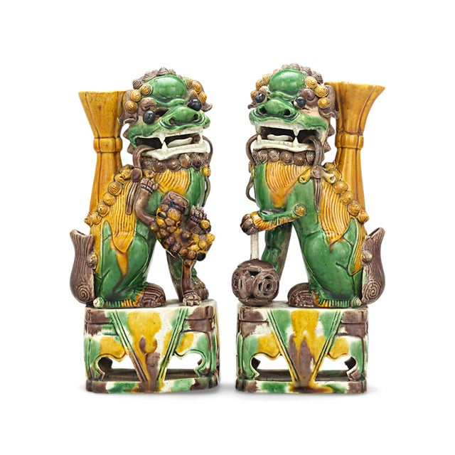 Mid 20th Century Qing Dynasty Chinese Foo Dog Totems For Sale - Image 5 of 5