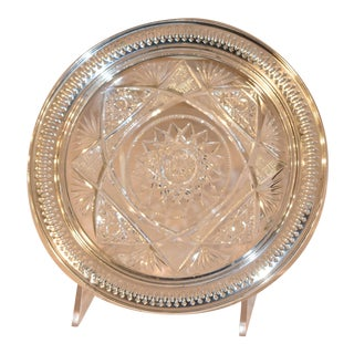 19th Century Sterling Silver Mounted Cut Glass Plate For Sale