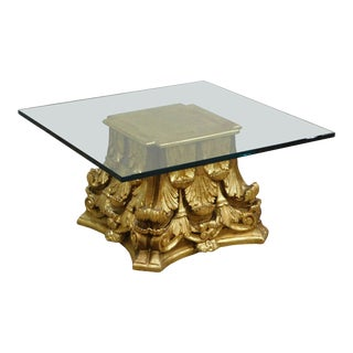 Antique Neo Classical Giltwood Carved Corinthian Capital Pedestal Glass Top Coffee Table For Sale