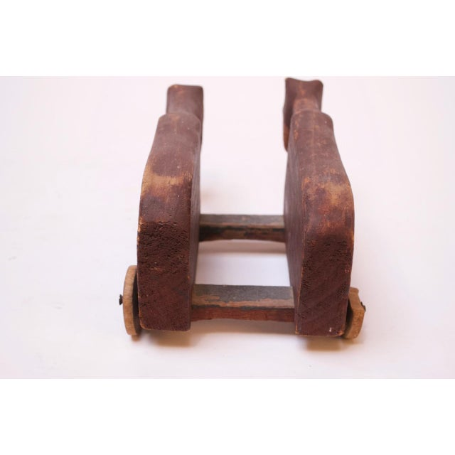 Vintage Hand-Carved Wooden Cattle Cart For Sale - Image 4 of 13
