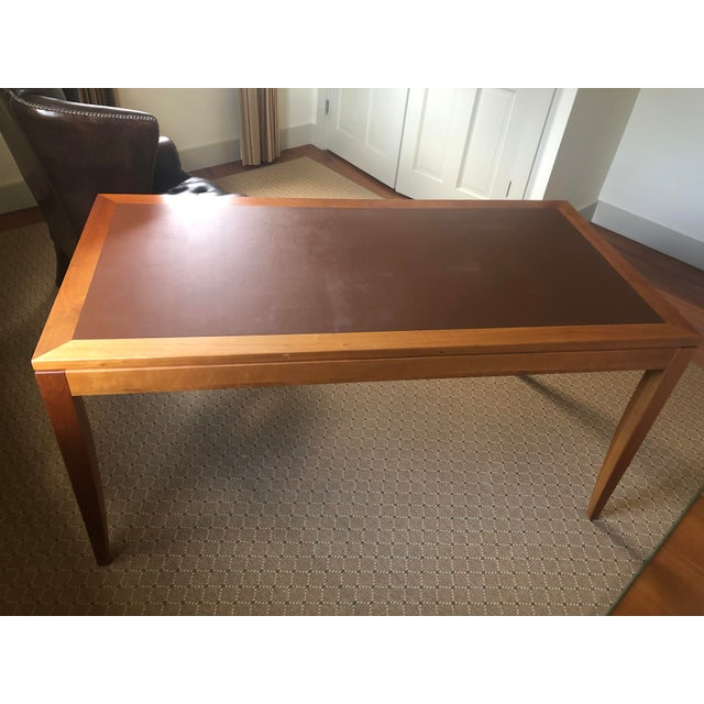 Wood Mid Century Writing Desk With Leather Top For Sale - Image 7 of 8