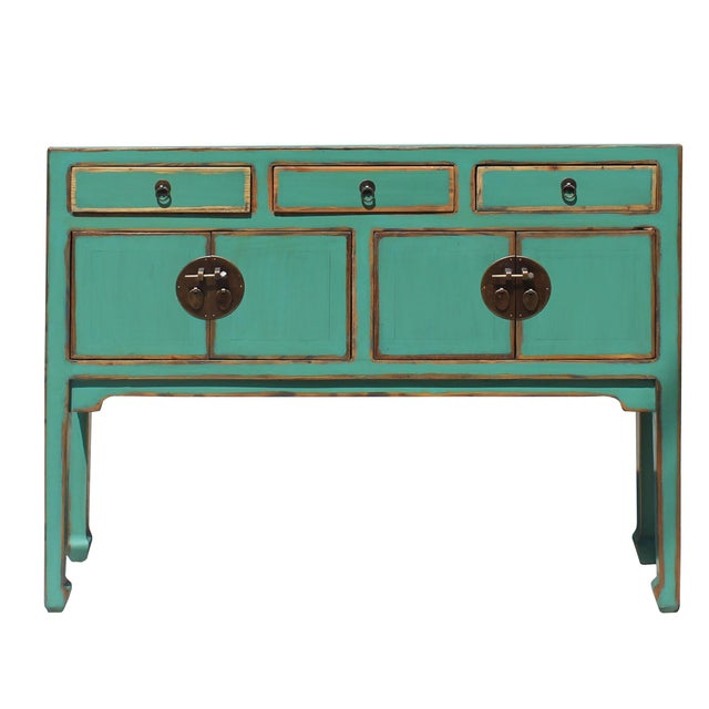 2010s Chinese Oriental Distressed Teal Green Blue Narrow Slim Table For Sale - Image 5 of 8