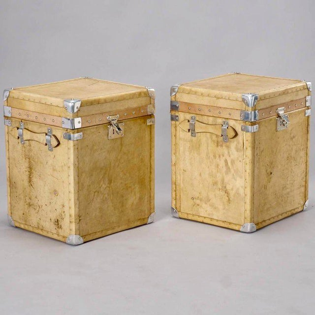 Pair of Reconditioned English Vellum and Chrome Trunks - Image 6 of 9