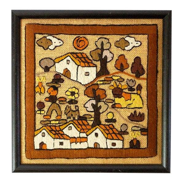 Folk Art Hand Embroidery Textile Art For Sale