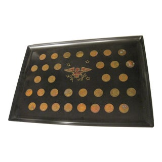 Couroc Mid-Century US Coin Inlaid Resin Serving Tray