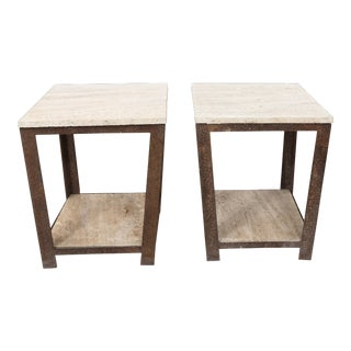 Modern Iron Side Tables - a Pair For Sale