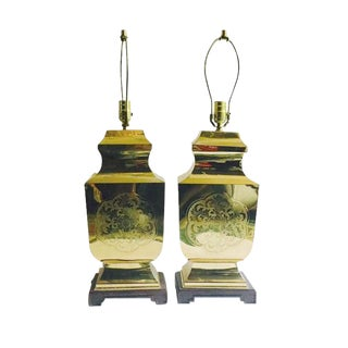 Vintage Brass Pagoda Lamps Sculpted Chinoiserie Statement Lamps - a Pair