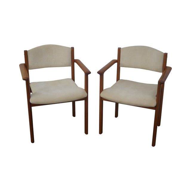 Danish Modern Teak Arm Chairs - Pair For Sale