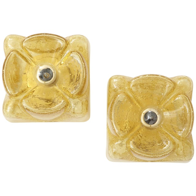 Pair of Amber Glass Sconces by Doria For Sale