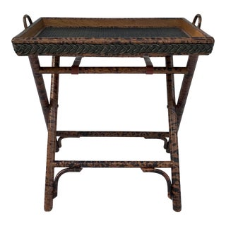 Vintage Faux Tortoise Shell Wood and Rattan Tray Table For Sale