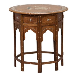 Moorish Side Table With Inlaid Peacock Design For Sale