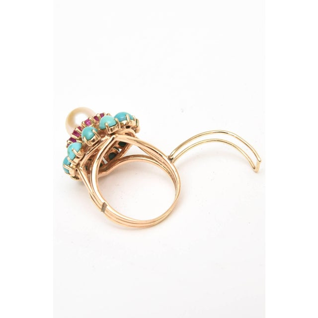 Ruby, Pearl, Turquoise and 14 Karat Yellow Gold Dome Cocktail Ring For Sale - Image 4 of 8