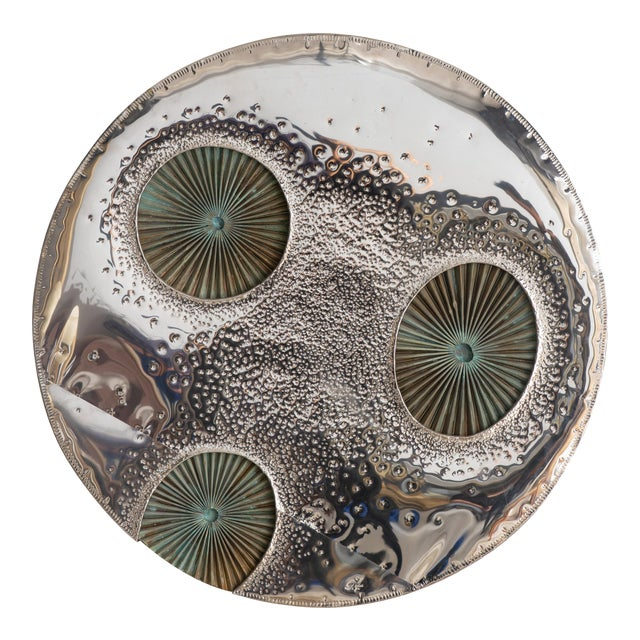 1960s Chrome and Copper Moon Wall Sculpture by Don Freedman For Sale