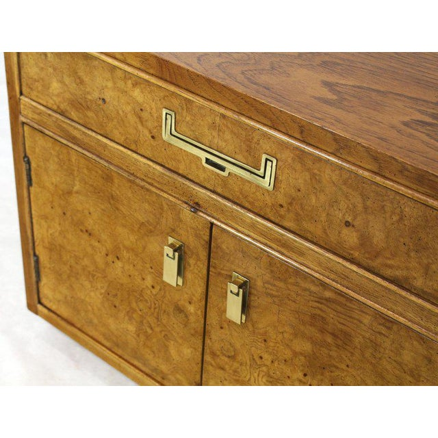 Brass Light Burl Wood Campaign Nightstands Bed Tables Brass Hardware - A Pair For Sale - Image 7 of 13