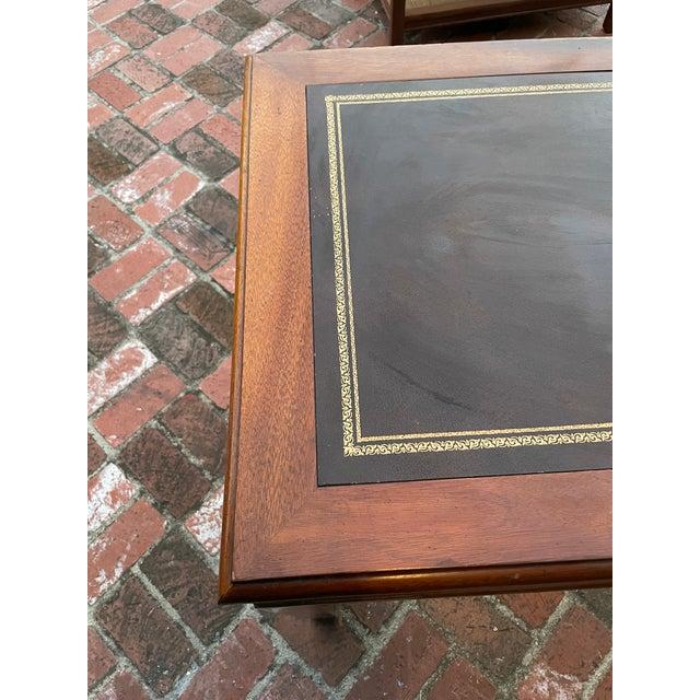 1970s Vintage Lane Altavista Mahogany, Brass, Leather Desk For Sale - Image 5 of 9