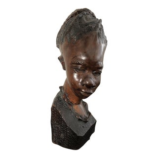 Vintage African Girl Wood Bust For Sale