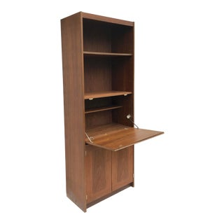 Mid-Century Bookcase With Drop Front Cabinet For Sale
