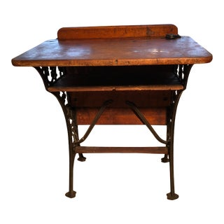 1880 Victorian Schoolhouse Desk W/Cast Iron Base Inkwell & Bookshelf For Sale