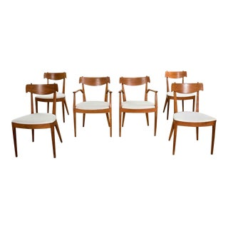 Drexel Declaration Walnut Dining Chairs by Kipp Stewart and Stewart MacDougall Set 6 For Sale