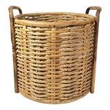 Image of 1970s Boho Chic Rattan Jute & Wicker Floor Basket For Sale
