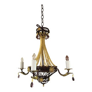French Beaded Tole Chandelier For Sale