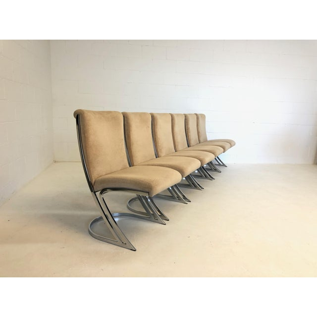 Super glamorous set of 6 vintage Pierre Cardin dining chairs. Chrome is in beautiful condition, chairs are sturdy. Fabric...