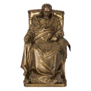 "Authentic Bronze Sculpture ""Last Days of Napoleon"" by Vincenzo Vela For Sale"