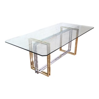 Hollywood Regency Dining Table in Brass, Chrome, and Glass For Sale