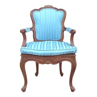 Italian Bergere Chair With Blue Striped Damask Upholstery For Sale